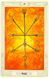 Tio svärd i tarot, ten of swords