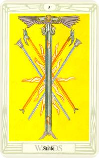 Fem i staval i tarot, five of wands
